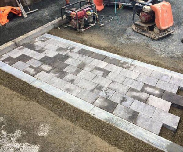 block paving speed bump landscaping in pembrokeshire
